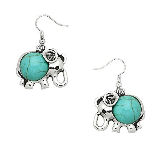 (Liavy's Elephant Fashionable Gemstone Earrings - Fish Hook - Turquoise Stone)