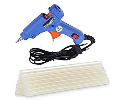 HRDEALS 20 Watt Mini Hot Melt Glue Gun for Fine Craft Work (7 MM Diameter) (Blue Gun with 10 Glue Sticks)