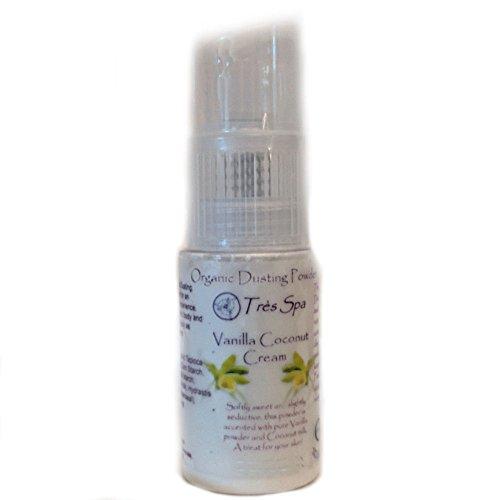 Vanilla Talc - Très Spa Organic Vanilla Cream Dusting Powder - Pure Botanicals with Vanilla Bean & Coconut Cream   Natural Body Powder that is Talc Free, Clay Free, Non GMO (Spray Bottle)