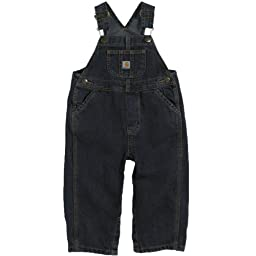 Carhartt Boys\' Washed Denim Bib Overall, Worn In Blue, 12 Months