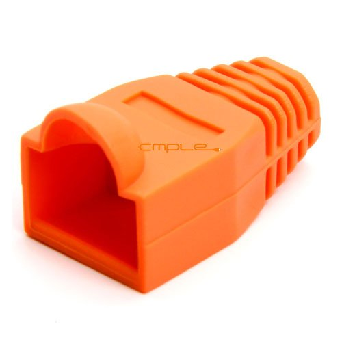 Cmple RJ-45 Strain Relief Boots for CAT5/5E/6 Ethernet Lan Cable Connector Cover Color ORANGE (Pack of 50) (Rj 45 Orange Strain Relief)