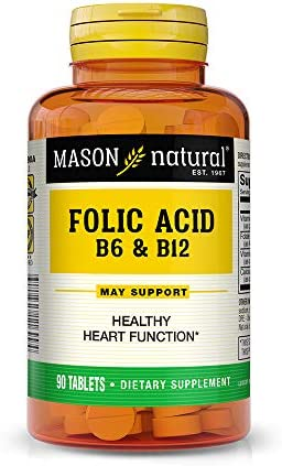 Mason Natural, Heart Formula B6 B12 Folic Acid Tablets, 90-Count Bottles Pack of 3 , Dietary Supplement Supports Cardiovascular Health, Red Blood Cell Formation, Metabolic Function