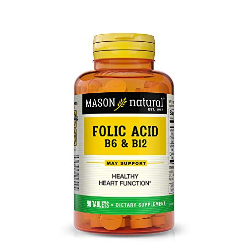 Mason Natural, Heart Formula B6/B12/Folic Acid Tablets, 90-Count Bottles (Pack of 3), Dietary Supplement Supports…