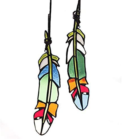 HAOSUM Stained Glass Window Hangings Set of 2 Stained Glass Feather Colored Glass Suncatchers Hanging Ornament for Wall, Window Car and Party Decoration and Gift Idea