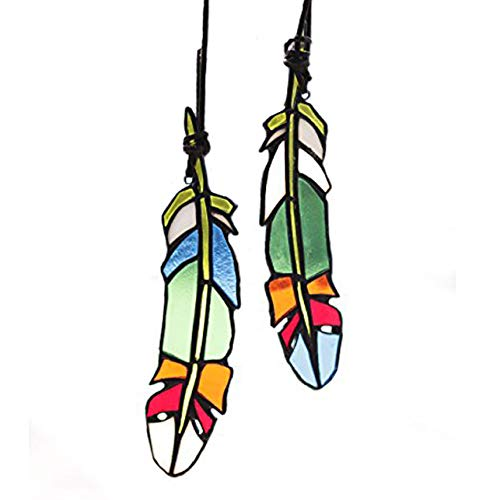 HAOSUM Stained Glass Window Hangings Set of 2 Stained Glass Feather Colored Glass Suncatchers Hanging Ornament for Wall, Window,Car and Party Decoration and Gift Idea]()