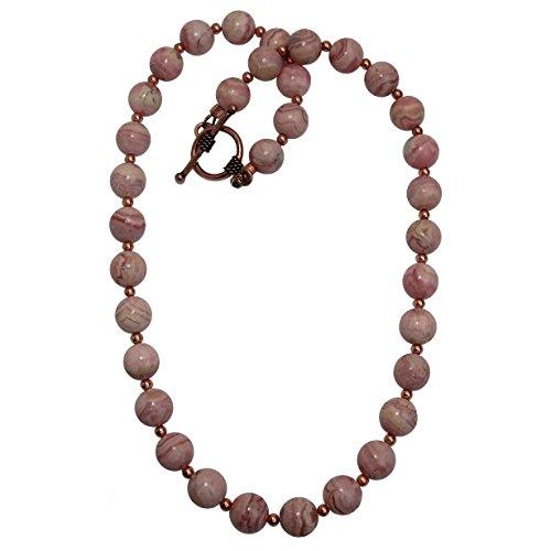 SatinCrystals Rhodochrosite Necklace Boutique Deluxe Pink Genuine Gemstone Round Beaded Copper B01 (17