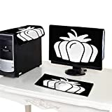 Miki Da Computer dust Cover 19''MonitorSet Pumpkin Vector Icon Solid Illustration Isolated on
