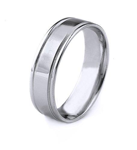 mens platinum milgrain ring - 9