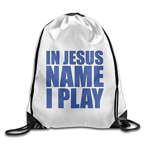 Unisex In Jesus Name I Play Blue Sports Drawstring Backpack -