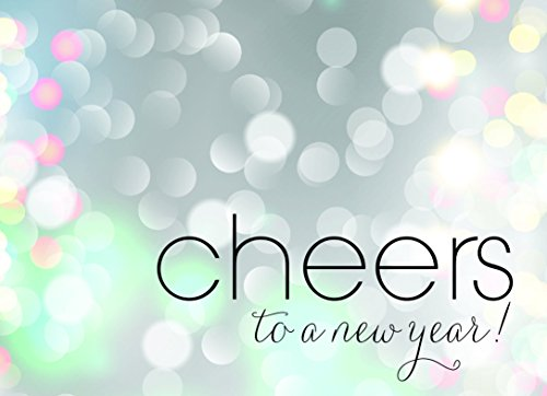 New Year Greeting Cards - N1501. Business Greeting Card with Cheers to the New Year on a Bubbly Background. Box set has 25 Greeting Cards and 26 White with Silver Foil Lined Envelopes.