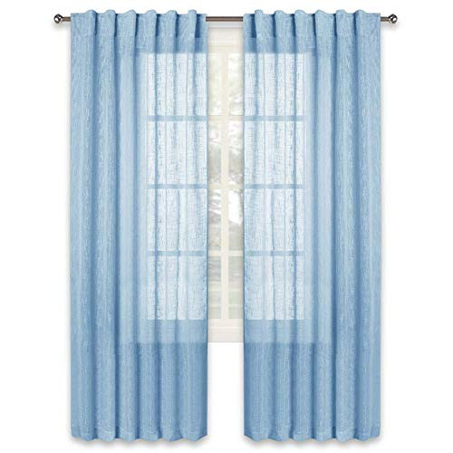 RYB HOME Living Room Semi Sheer Curtain Draperies, Linen Textured Voile Privacy Panels for Kids Bedroom/Dinning/Living Room, Baby Blue, Wide 52 in x Long 84 in - per Panel, Set of 2