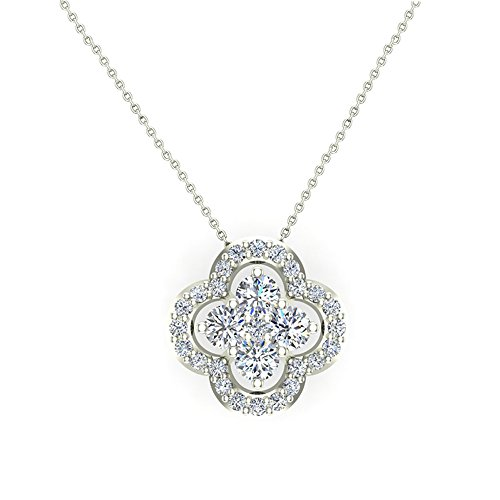 0.80 ct Flower Cluster Center Diamond Necklace Pendant 14K White Gold (P0198) (Diamond White Gold Pendant Flower)