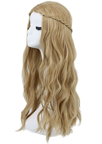 (Karlery Women Long Curly Braided Light Brown Wig Halloween Cosplay Wig Anime Costume Party)