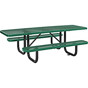 "8' ADA Rectangular Picnic Table, Expanded Metal, Green (96"" Long)"