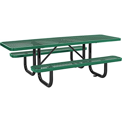8′ ADA Rectangular Picnic Table, Expanded Metal, Green (96″ Long)