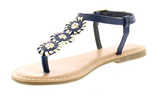 Gold Toe Women's Lakesha Whipstitch Embroidered Triple Circle T-Strap Thong Flat Sandal With Ankle Strap Navy 6 (Embroidered Open Thong)