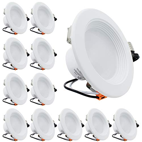 """White Lighting Tech (ESD Tech 12 Pack 4"""" Inch LED Recessed Lighting Trim – Dimmable Retrofit Downlight Bulb Fixture, 3000K, 640 Lm, White Round Baffle, JA-8, Energy Star, UL Listed)"""