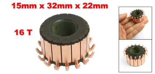 uxcell 15mm x 32mm x 22mm 16 Gear Tooth Copper Shell Electric Motor Commutator