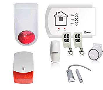 Jeiko Alarma para garaje sin hilos doble sirena & combinador GSM integrado, 2 sensores de