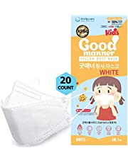 K94 Kids Disposable Face Mask, 20 Pack White, Breathable Mask with Quadruple Filtration System and Skin-Friendly Inner Layer, Soft Ear Band for 4Y-12Y Boys and Girls - Good Manner