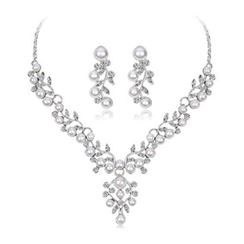 Pearl Wedding Rhinestone Jewelry - Brishow Women's Wedding Rhinestone Necklace Earrings Jewelry Sets Silver Leaf Pearl Bridal Accessories for Bride
