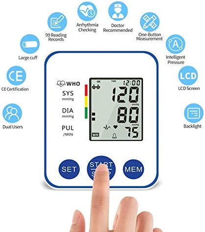 Blood Pressure Monitor, Upper Arm Digital Blood Pressure Monitors Cuff BP Machine Automatic Heart Rate Pulse Monitor with LCD Large Screen Display Home Use Care Device 41f05nykHNL