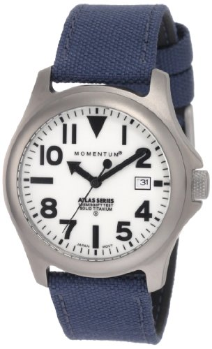 Momentum Men's 1M-SP00W6U Atlas White Dial Blue Cordura Watch