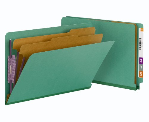 Recycled End Tab Classification Folders - Smead End Tab Pressboard Classification File Folder with SafeSHIELD Fasteners, 2 Dividers, 2