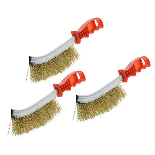 Saim Wire Bristle Brush Cleaner Hand Tool General-Purpose Copper Plated Wire Brush Paint Rust Remover with Red Plastic Curved Handle for Cleaning Brake Pads Calliper Disks, Heavy Duty, 3Pcs