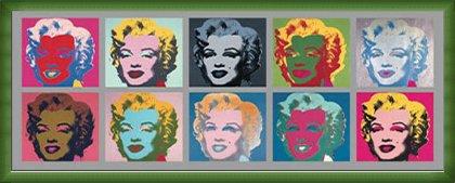 ポスター アンディ ウォーホル Ten Marilyns 1967 額装品 ウッドベーシックフレーム(グリーン) B072MZBFS6 グリーン グリーン