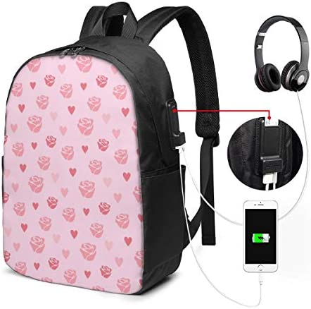 School Girl Bag Argyle Seamless Lovely Vivid Fashion Outdoor Daypack with USB Charging Port and Headphone Port for College Work Travel