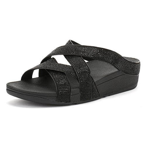 Fitflop Slinky Rokkit Criss-cross Slide - Sandalias con tacón Mujer Negro (Black)