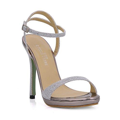 avec à banquet des talon femme très Flash bien chaussures d'été haut minimaliste Silver femmes chaussures Sandales 8TPUwqHw