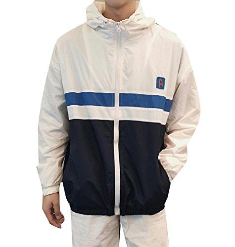 Howme-Men Breathable Zip Windproof Juniors' Light Weight Jacket Coat Navy blue
