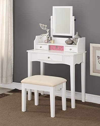"""Price comparison product image Globe House Products GHP 30""""x16""""x58.5"""" White Contemporary Swivel Adjustable Mirror Vanity Table with Stool"""