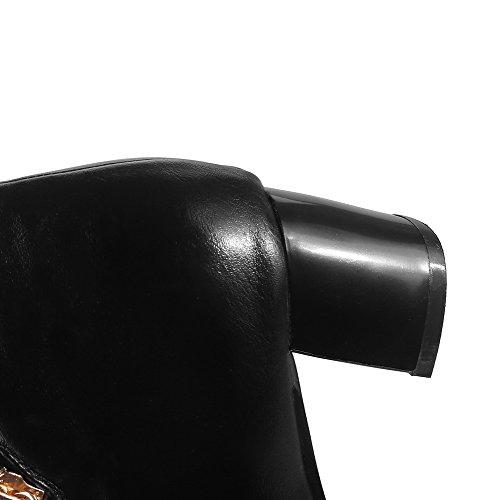 Rond Talon et Bottes Unie Laine Correct Court Zip Fine VogueZone009 à Noir Couleur Femme gqYxBtw8