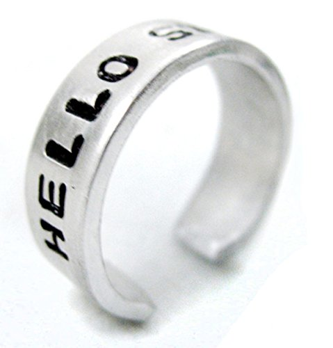 Basic Hello Sweetie Ring - Hand Stamped, Adjustable Narrow Aluminum Doctor Who Inspired Ring - Handcrafted Item by Foxwise