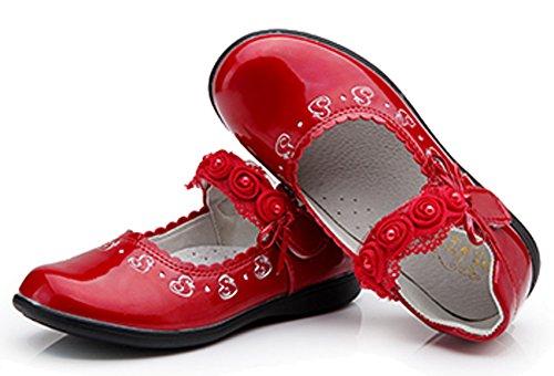 VECJUNIA Mädchen Strap Closure PU Leder Bowknot Duck Kleid Schuhe Flache Mary Jane Ballerina Halbschuhe Rot
