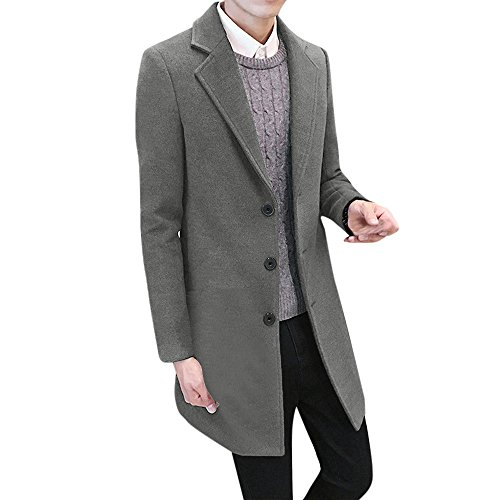 GOVOW Long Coat Fall Men Keep Warm Windbreaker Cotton Outwear Warm Wool Slim Jacket Trench