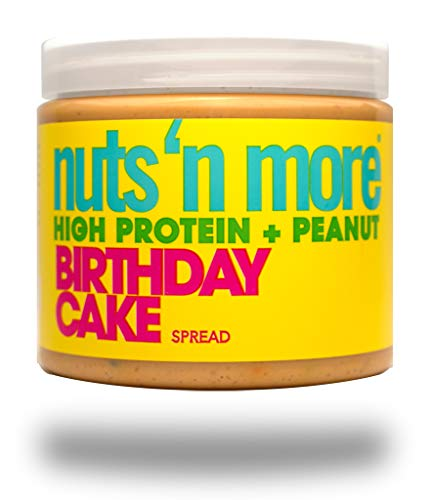 Nuts 'N More Birthday Cake Peanut Spread, High Protein Nut Butter Snack, Low Carb, Low Sugar, Gluten-Free, All Natural Sports Nutrition, 16 oz Jar