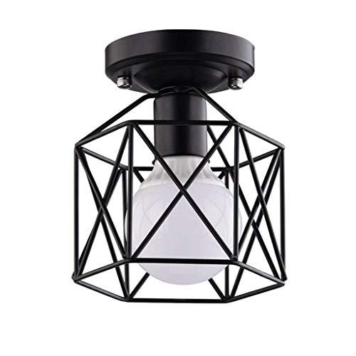 Flush Mount Pendant Lamp, Lamp Mini Creative Geometry Chandelier Home Decor Home Decora, E27 Socket LED Geometry Retro Ceiling Light, Bedroom, Bar Lamp, Metal Lamp, Balcony Showcase (Cast Iron Mini Pendant Light)