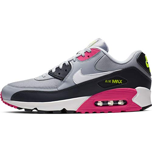 Nike Men's Air Max 90 Wolf Grey/White/Rush Pink/Volt Leather Casual Shoes 8 M - Air Max Pink Nike