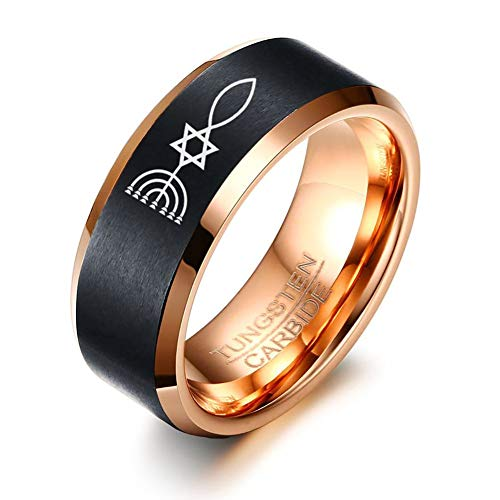 (Men's Tungsten Carbide Messianic Star of David Menorah Fish Ring Wedding Engagement Promise Universary Ring for Men,Men's Jewelry Gift )