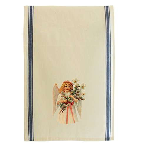 Angel Girl In Pink Dress Lilies Pussy-Willow Retro Stripe Dish Kitchen Towel (Willow Stripe)