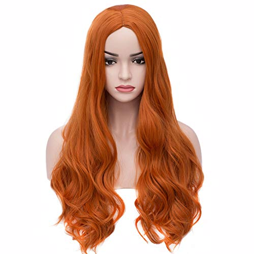 BERON Long Wavy Charming Full Synthetic Wigs for Women Girls Natural Curly Wigs with Wig Cap (Orange) -