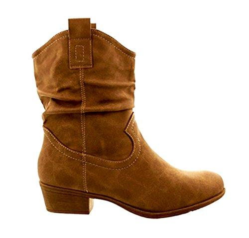 Damen Stiefeletten Cowboy Western Stiefel Boots Schlupfstiefel Schuhe 36 Camel