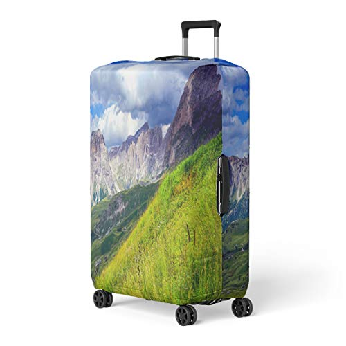 Pinbeam Luggage Cover Green Clouds Mountain Summit Range Landscape Edge Flower Travel Suitcase Cover Protector Baggage Case Fits 18-22 inches