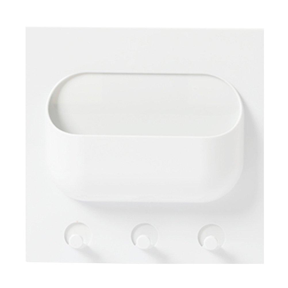 BESTONZON Mensola adesivo da parete con ganci portaoggetti di plastica in Bianco