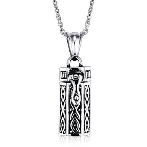 VNOX Stainless Steel Tubular Urn Pendant Necklace for Memories Humans Cremation Ashes,Free Chain 22 inches
