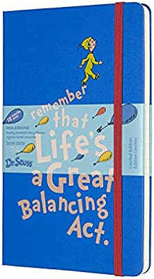 Moleskine 18 Monate Wochen Notizkalender - Dr. Seuss 2019/2020 Large/A5, 1 Wo=1 Seite, Liniert, Fester Einband, Blau